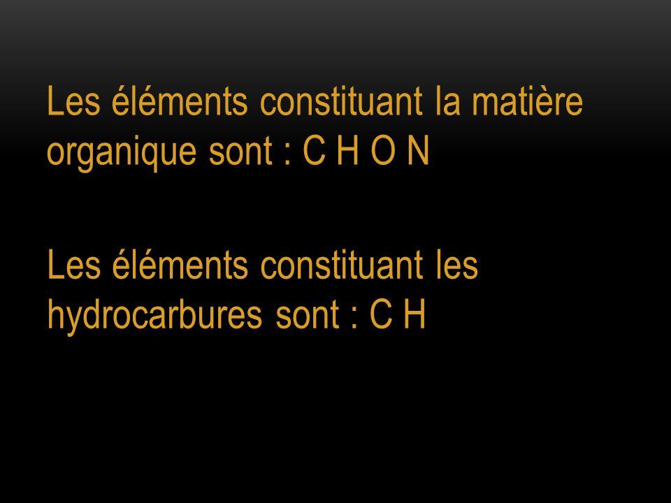 Les éléments constituant la matière organique sont : C H O N Les éléments constituant les hydrocarbures sont : C H