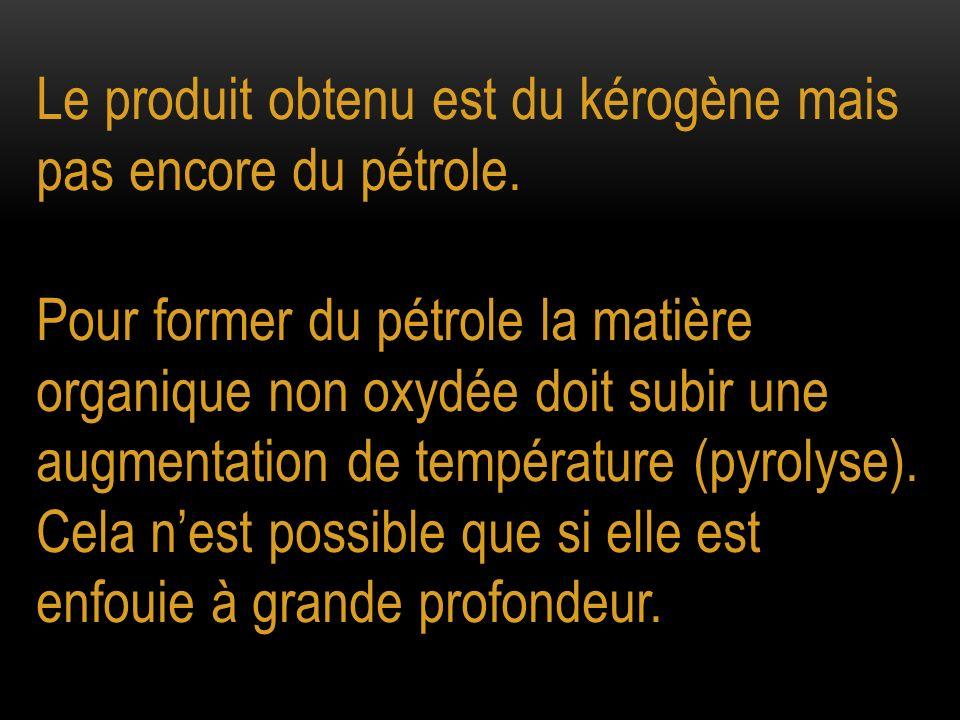 Le produit obtenu est du kérogène mais pas encore du pétrole. Pour former du pétrole la matière organique non oxydée doit subir une augmentation de te