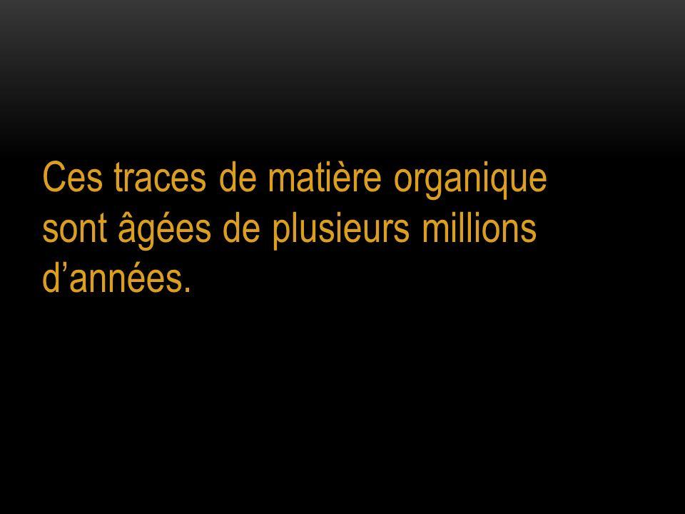 Ces traces de matière organique sont âgées de plusieurs millions dannées.
