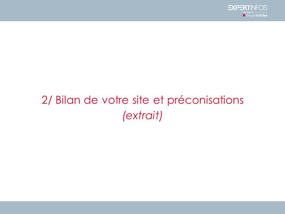 2/ Bilan de votre site et préconisations (extrait)
