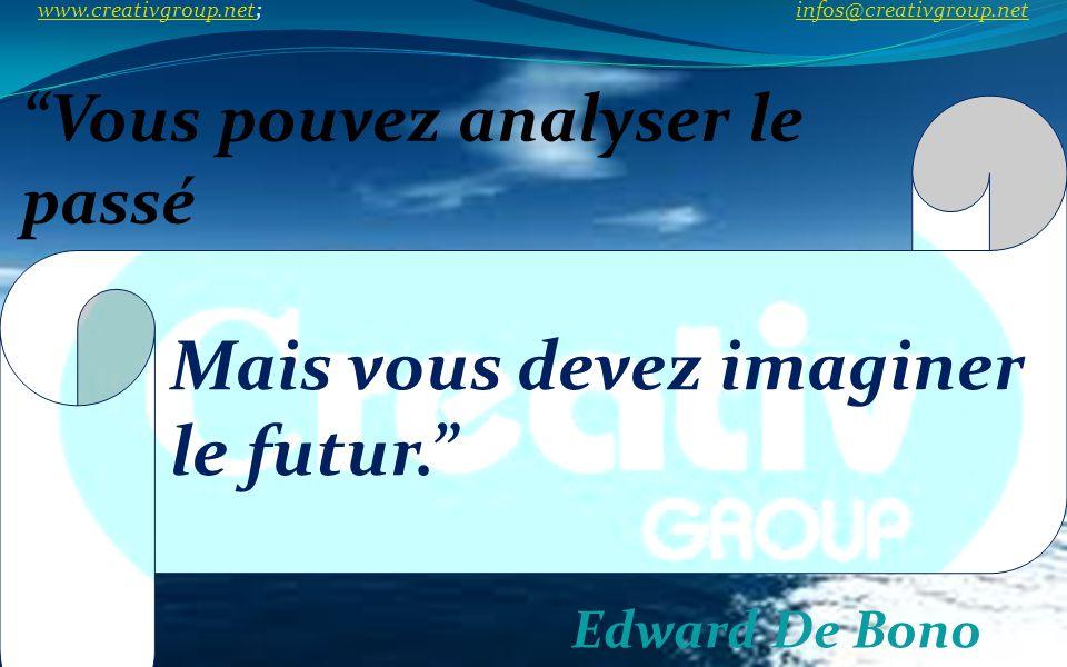 Vous pouvez analyser le passé Edward De Bono Mais vous devez imaginer le futur. www.creativgroup.net; infos@creativgroup.net