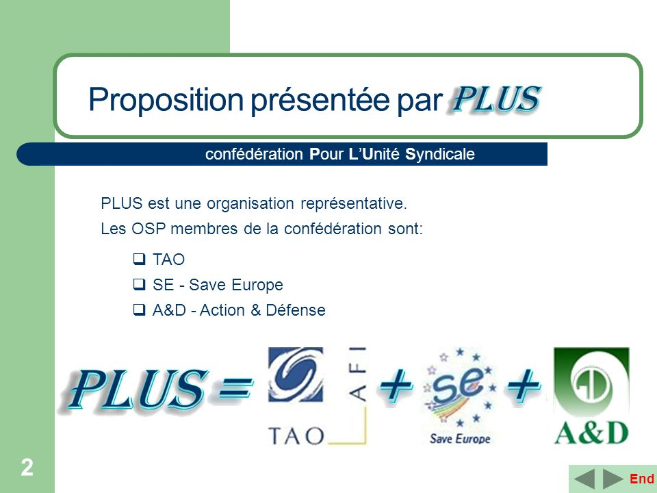 2 PLUS est une organisation représentative. Les OSP membres de la confédération sont: TAO SE - Save Europe A&D - Action & Défense confédération Pour L