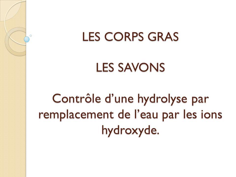 LES CORPS GRAS LES SAVONS Contrôle dune hydrolyse par remplacement de leau par les ions hydroxyde.