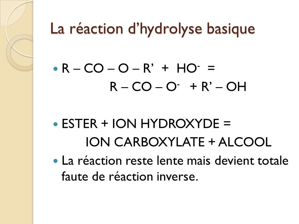 La réaction dhydrolyse basique R – CO – O – R + HO - = R – CO – O - + R – OH ESTER + ION HYDROXYDE = ION CARBOXYLATE + ALCOOL La réaction reste lente