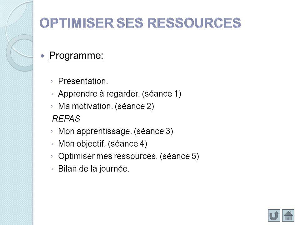 Programme: Présentation. Apprendre à regarder. (séance 1) Ma motivation. (séance 2) REPAS Mon apprentissage. (séance 3) Mon objectif. (séance 4) Optim