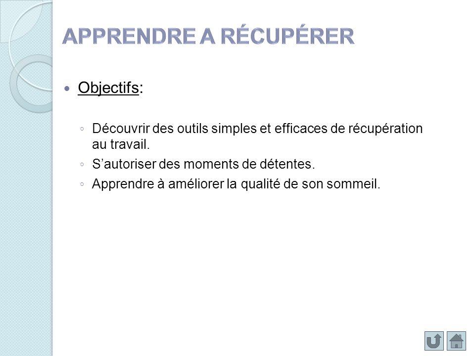 Objectifs: Découvrir des outils simples et efficaces de récupération au travail. Sautoriser des moments de détentes. Apprendre à améliorer la qualité