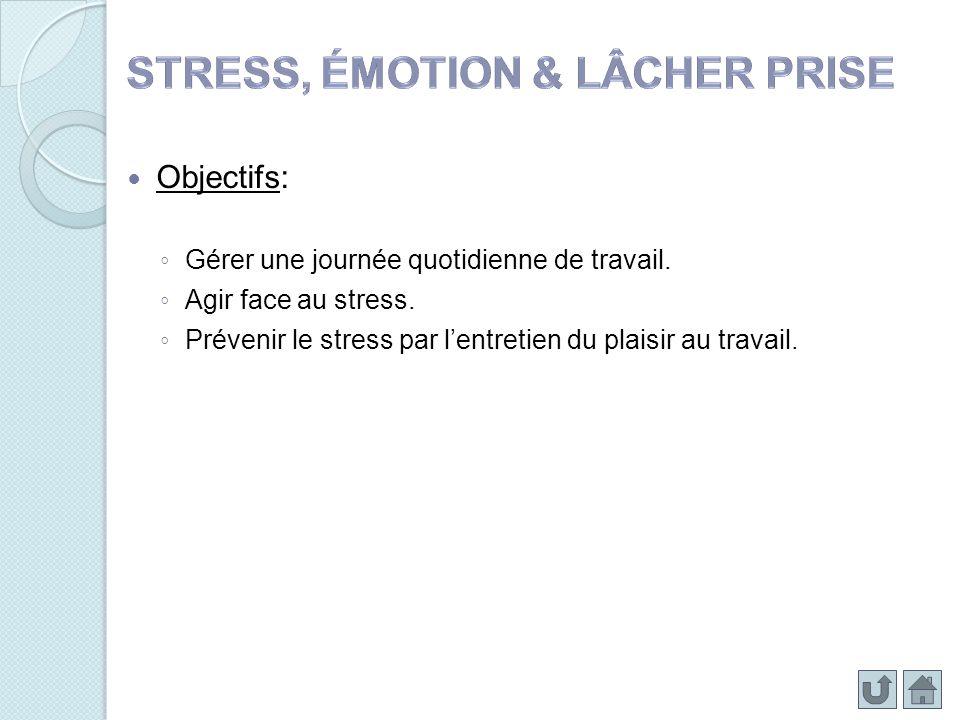 Objectifs: Gérer une journée quotidienne de travail. Agir face au stress. Prévenir le stress par lentretien du plaisir au travail.