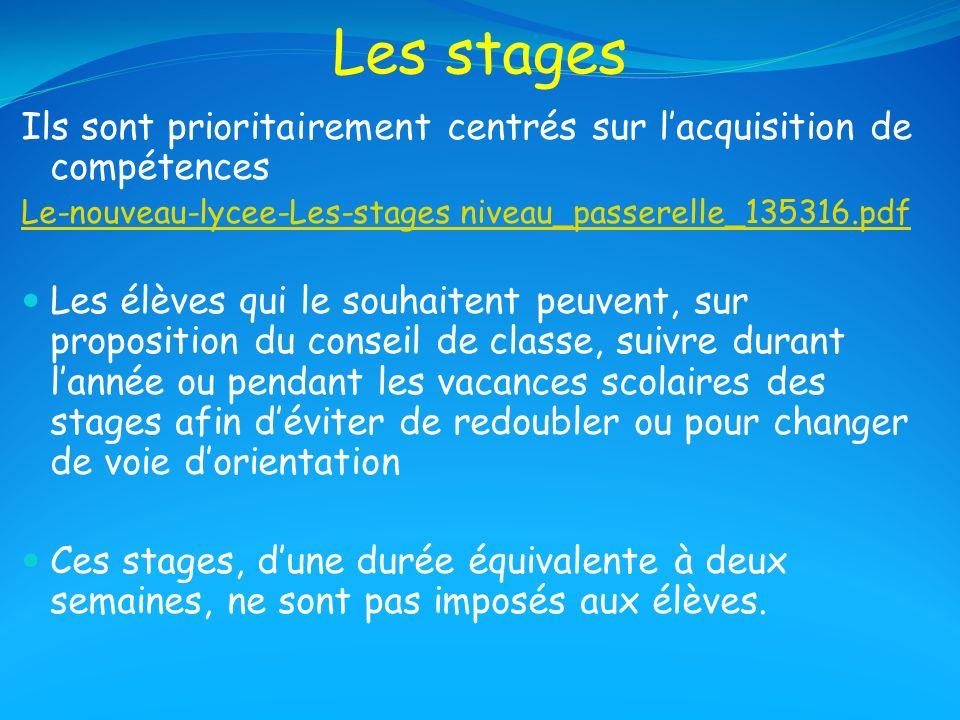 Les stages Ils sont prioritairement centrés sur lacquisition de compétences Le-nouveau-lycee-Les-stages niveau_passerelle_135316.pdf Les élèves qui le