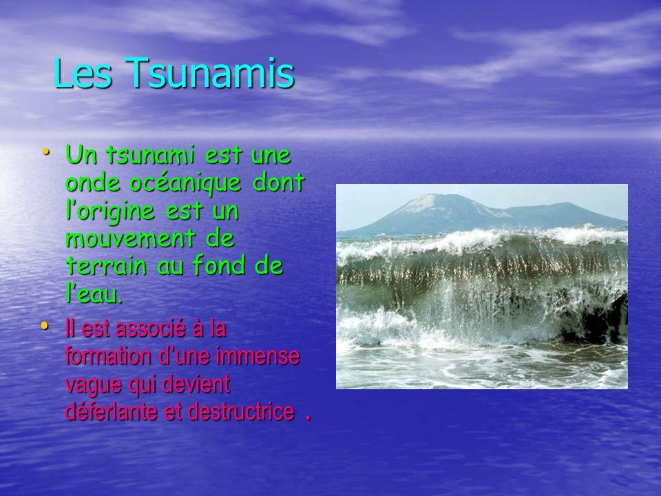 Les Tsunamis Les Tsunamis Un tsunami est une onde océanique dont lorigine est un mouvement de terrain au fond de leau. Il est associé à la formation d