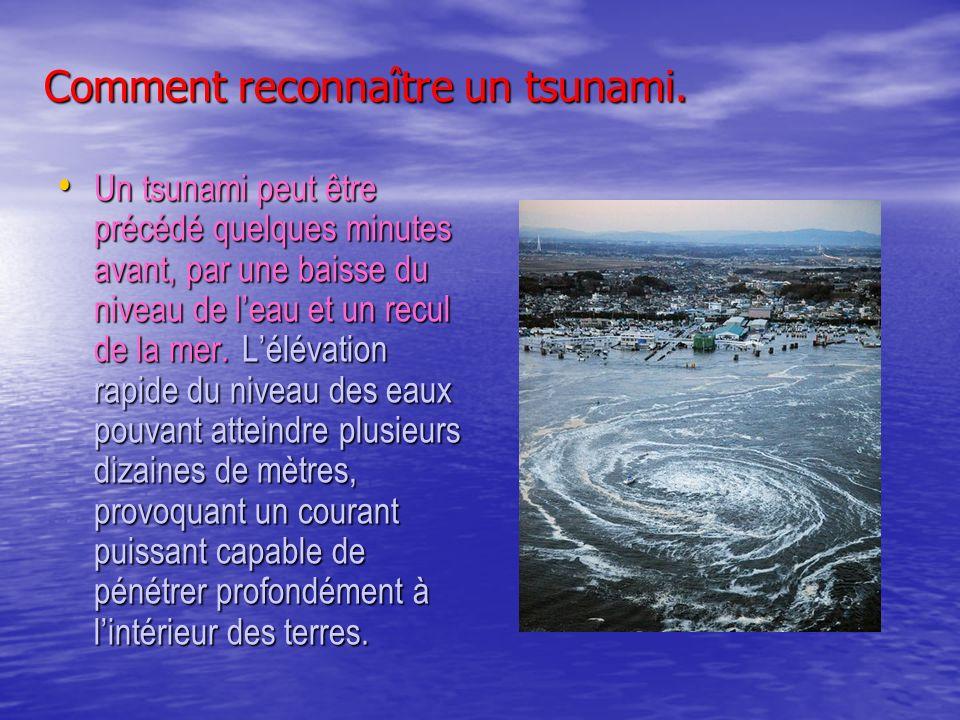 Comment reconnaître un tsunami. Un tsunami peut être précédé quelques minutes avant, par une baisse du niveau de leau et un recul de la mer. Lélévatio