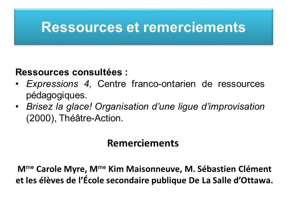 Ressources consultées : Expressions 4, Centre franco-ontarien de ressources pédagogiques.