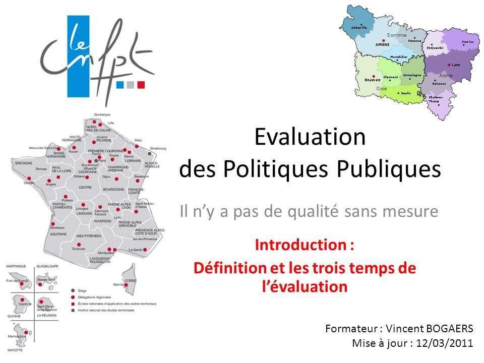 Evaluation des Politiques Publiques Il ny a pas de qualité sans mesure Formateur : Vincent BOGAERS Mise à jour : 12/03/2011 Introduction : Définition et les trois temps de lévaluation