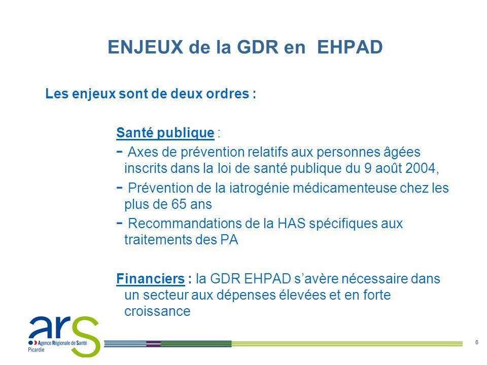7 La GDR en EHPAD comprend plusieurs axes (leviers): Prévention Qualité des soins Maîtrise médicalisée Pertinence de lorganisation des soins Contrôles ENJEUX de la GDR en EHPAD