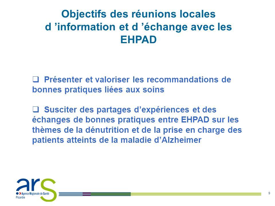 9 Objectifs des réunions locales d information et d échange avec les EHPAD Présenter et valoriser les recommandations de bonnes pratiques liées aux so