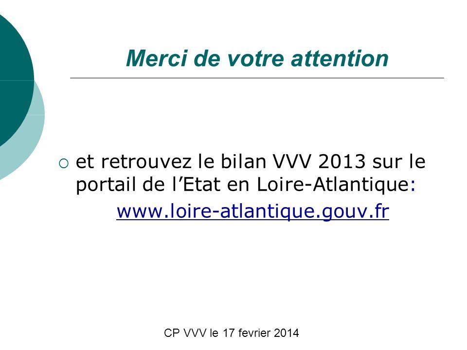 CP VVV le 17 fevrier 2014 Merci de votre attention et retrouvez le bilan VVV 2013 sur le portail de lEtat en Loire-Atlantique: www.loire-atlantique.go