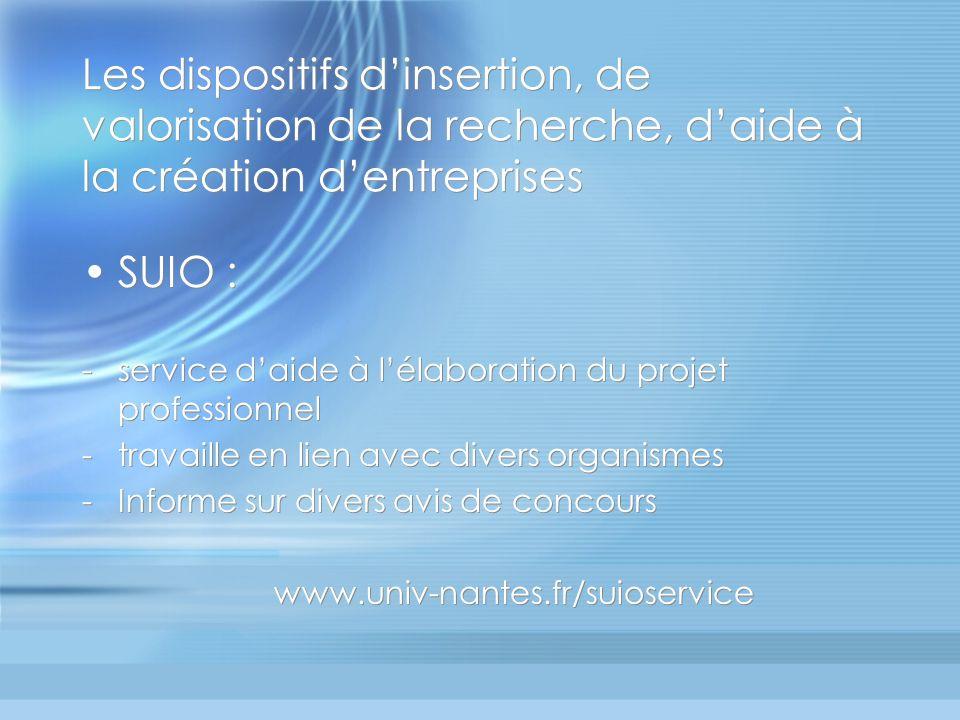 Les dispositifs dinsertion, de valorisation de la recherche, daide à la création dentreprises SUIO : -service daide à lélaboration du projet professio