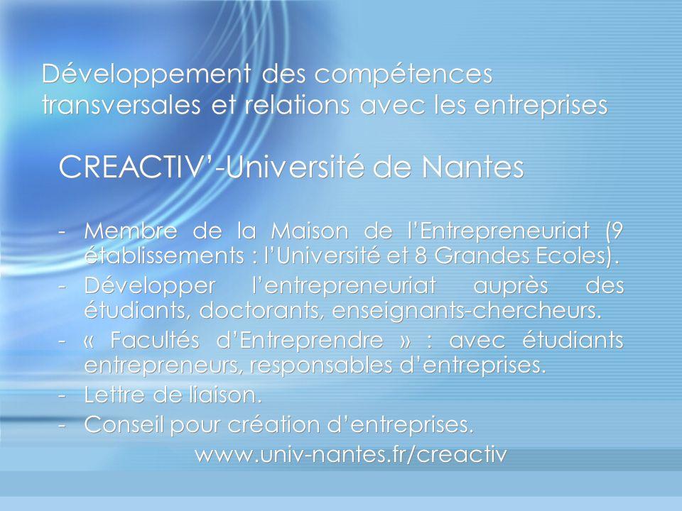 Développement des compétences transversales et relations avec les entreprises CREACTIV-Université de Nantes -Membre de la Maison de lEntrepreneuriat (9 établissements : lUniversité et 8 Grandes Ecoles).