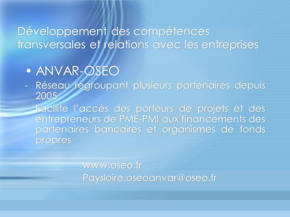 Développement des compétences transversales et relations avec les entreprises ANVAR-OSEO -Réseau regroupant plusieurs partenaires depuis 2005 -Facilite laccès des porteurs de projets et des entrepreneurs de PME-PMI aux financements des partenaires bancaires et organismes de fonds propres www.oseo.fr Paysloire.oseoanvar@oseo.fr ANVAR-OSEO -Réseau regroupant plusieurs partenaires depuis 2005 -Facilite laccès des porteurs de projets et des entrepreneurs de PME-PMI aux financements des partenaires bancaires et organismes de fonds propres www.oseo.fr Paysloire.oseoanvar@oseo.fr
