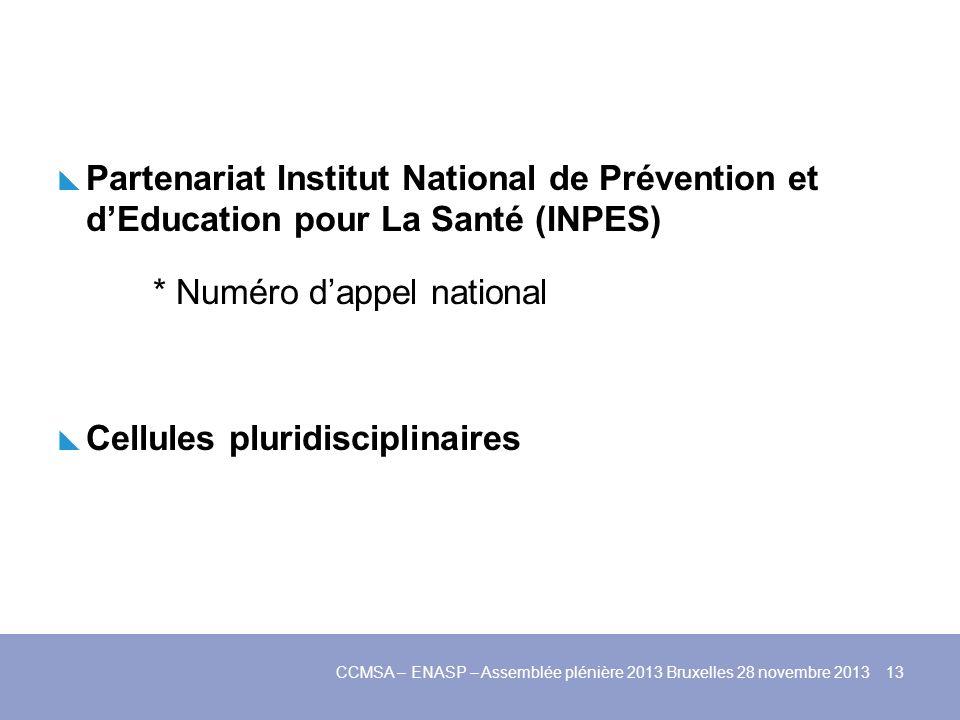 Partenariat Institut National de Prévention et dEducation pour La Santé (INPES) * Numéro dappel national Cellules pluridisciplinaires CCMSA – ENASP –