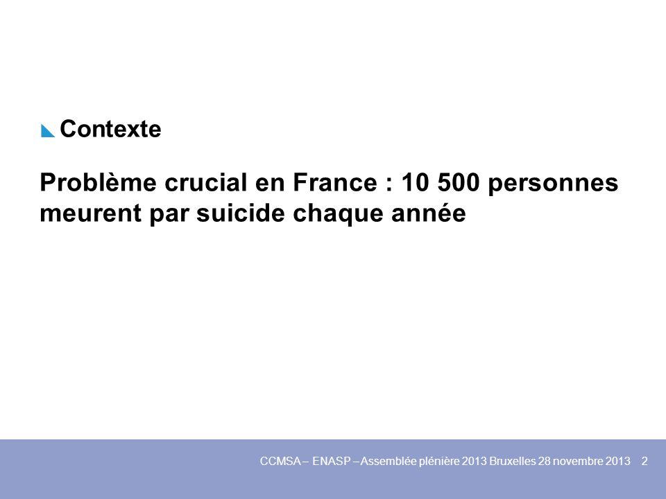 Contexte Problème crucial en France : 10 500 personnes meurent par suicide chaque année CCMSA – ENASP – Assemblée plénière 2013 Bruxelles 28 novembre