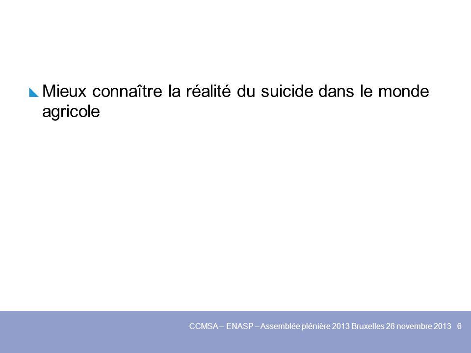 Mieux connaître la réalité du suicide dans le monde agricole Mettre en place des dispositifs découte pour les agriculteurs en situation de détresse CCMSA – ENASP – Assemblée plénière 2013 Bruxelles 28 novembre 2013 7
