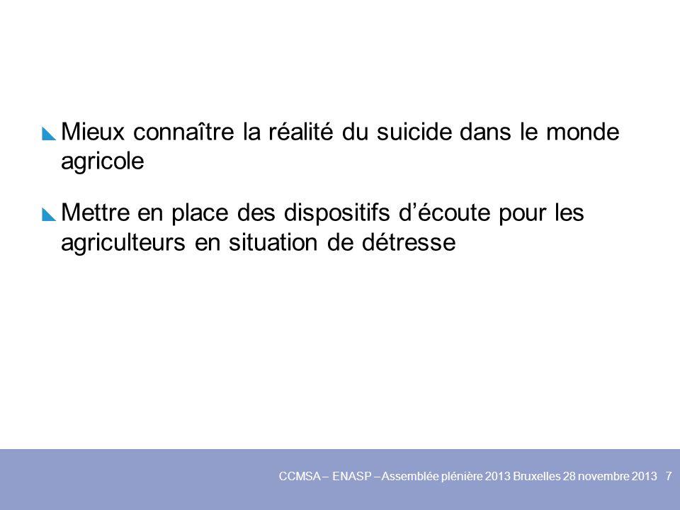 Mieux connaître la réalité du suicide dans le monde agricole Mettre en place des dispositifs découte pour les agriculteurs en situation de détresse Créer des cellules de prévention dans chaque MSA pour repérer les agriculteurs en difficulté CCMSA – ENASP – Assemblée plénière 2013 Bruxelles 28 novembre 2013 8