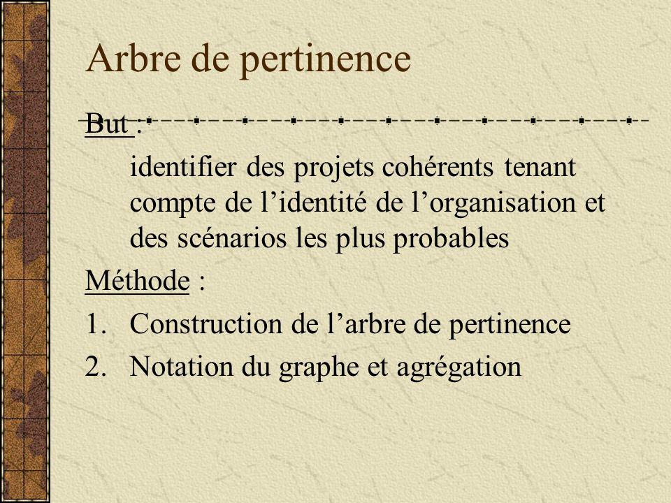 Arbre de pertinence But : identifier des projets cohérents tenant compte de lidentité de lorganisation et des scénarios les plus probables Méthode : 1