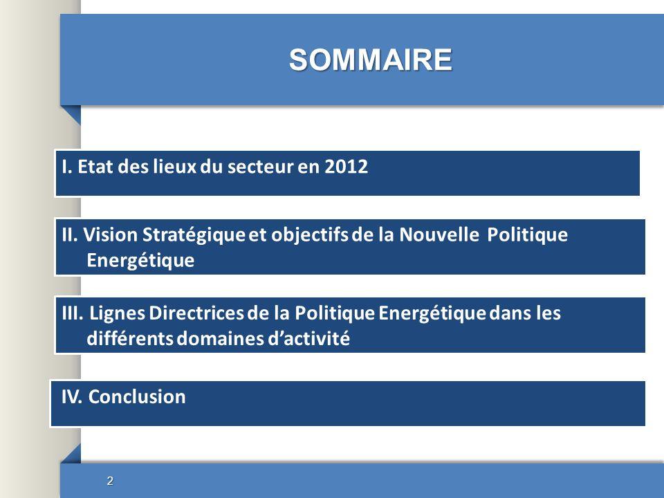 SOMMAIRE 2 I. Etat des lieux du secteur en 2012 III. Lignes Directrices de la Politique Energétique dans les différents domaines dactivité II. Vision