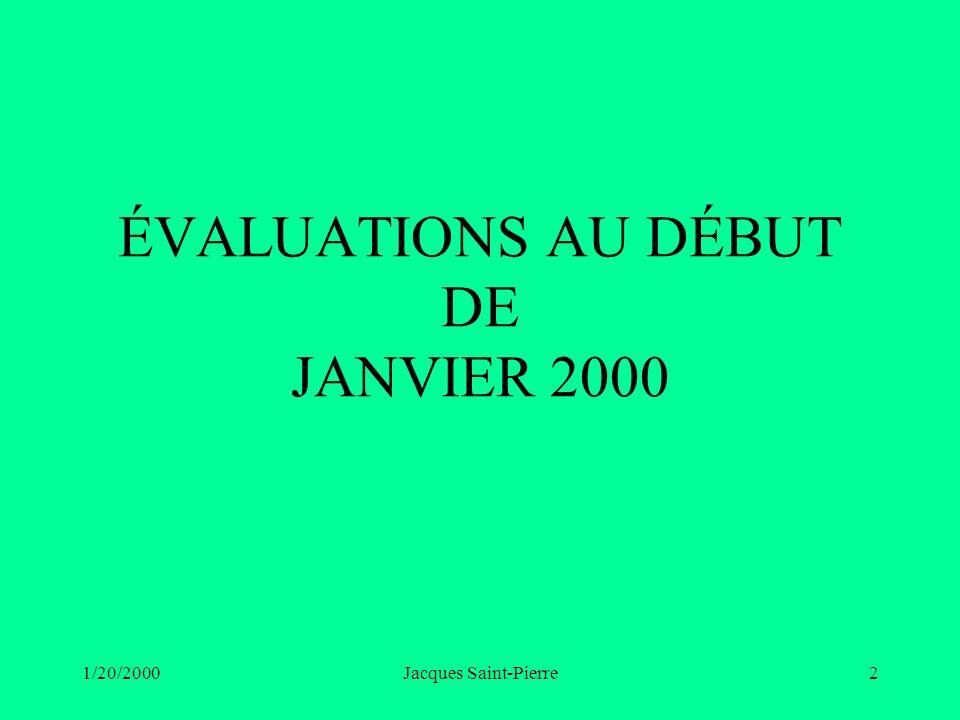 1/20/2000Jacques Saint-Pierre2 ÉVALUATIONS AU DÉBUT DE JANVIER 2000