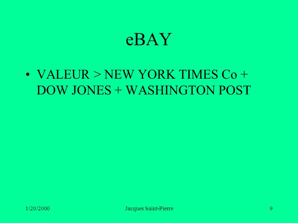 1/20/2000Jacques Saint-Pierre9 eBAY VALEUR > NEW YORK TIMES Co + DOW JONES + WASHINGTON POST