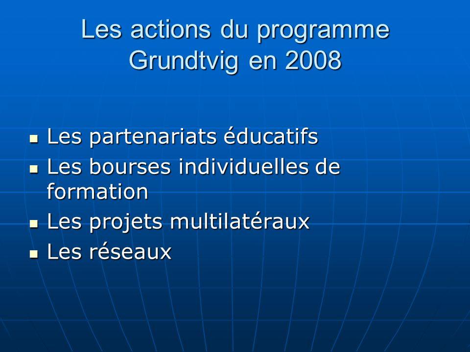 Les actions du programme Grundtvig en 2008 Les partenariats éducatifs Les partenariats éducatifs Les bourses individuelles de formation Les bourses individuelles de formation Les projets multilatéraux Les projets multilatéraux Les réseaux Les réseaux