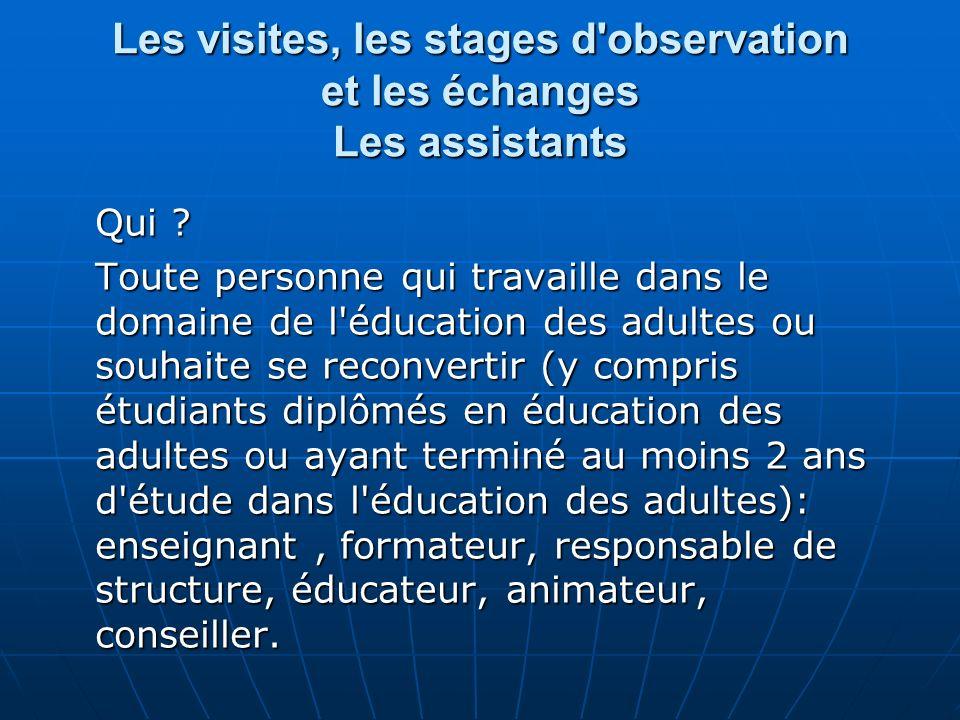 Les visites, les stages d observation et les échanges Les assistants Qui .