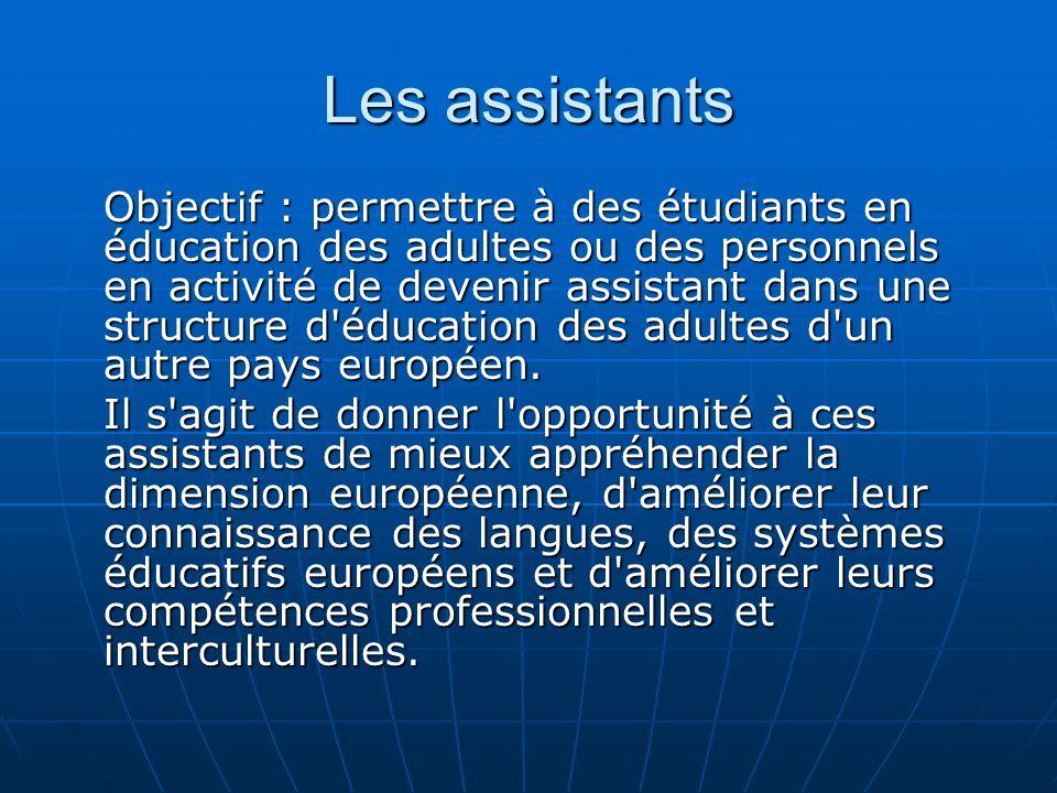 Les assistants Objectif : permettre à des étudiants en éducation des adultes ou des personnels en activité de devenir assistant dans une structure d éducation des adultes d un autre pays européen.