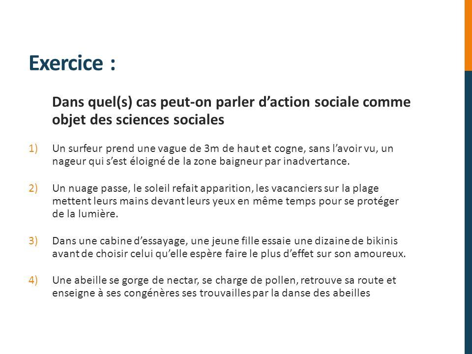 Exercice : Dans quel(s) cas peut-on parler daction sociale comme objet des sciences sociales 1)Un surfeur prend une vague de 3m de haut et cogne, sans