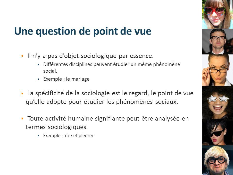 Une question de point de vue Il ny a pas dobjet sociologique par essence. Différentes disciplines peuvent étudier un même phénomène social. Exemple :
