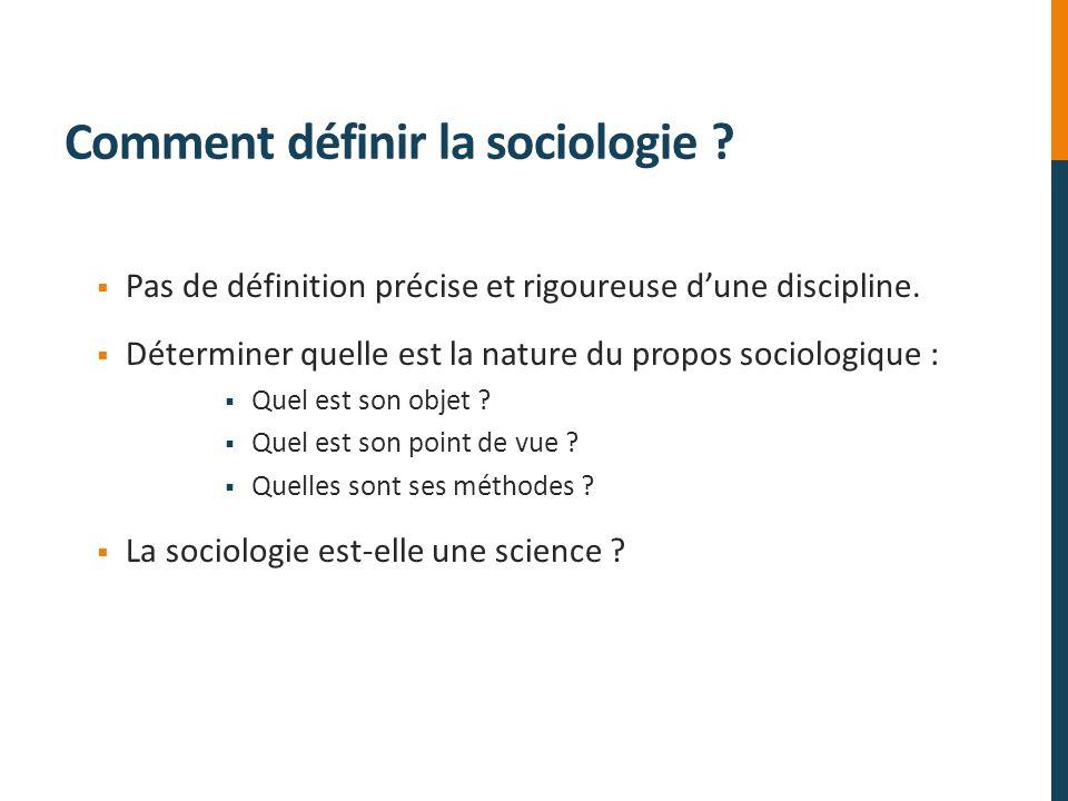 Comment définir la sociologie ? Pas de définition précise et rigoureuse dune discipline. Déterminer quelle est la nature du propos sociologique : Quel