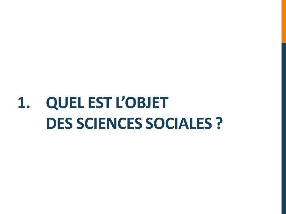 1. QUEL EST LOBJET DES SCIENCES SOCIALES ?
