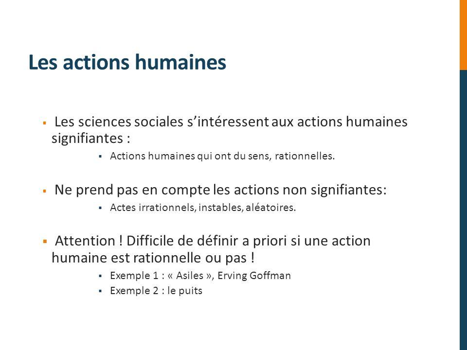 Les actions humaines Les sciences sociales sintéressent aux actions humaines signifiantes : Actions humaines qui ont du sens, rationnelles. Ne prend p