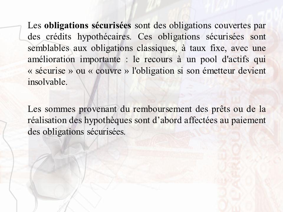 Les obligations sécurisées sont des obligations couvertes par des crédits hypothécaires. Ces obligations sécurisées sont semblables aux obligations cl