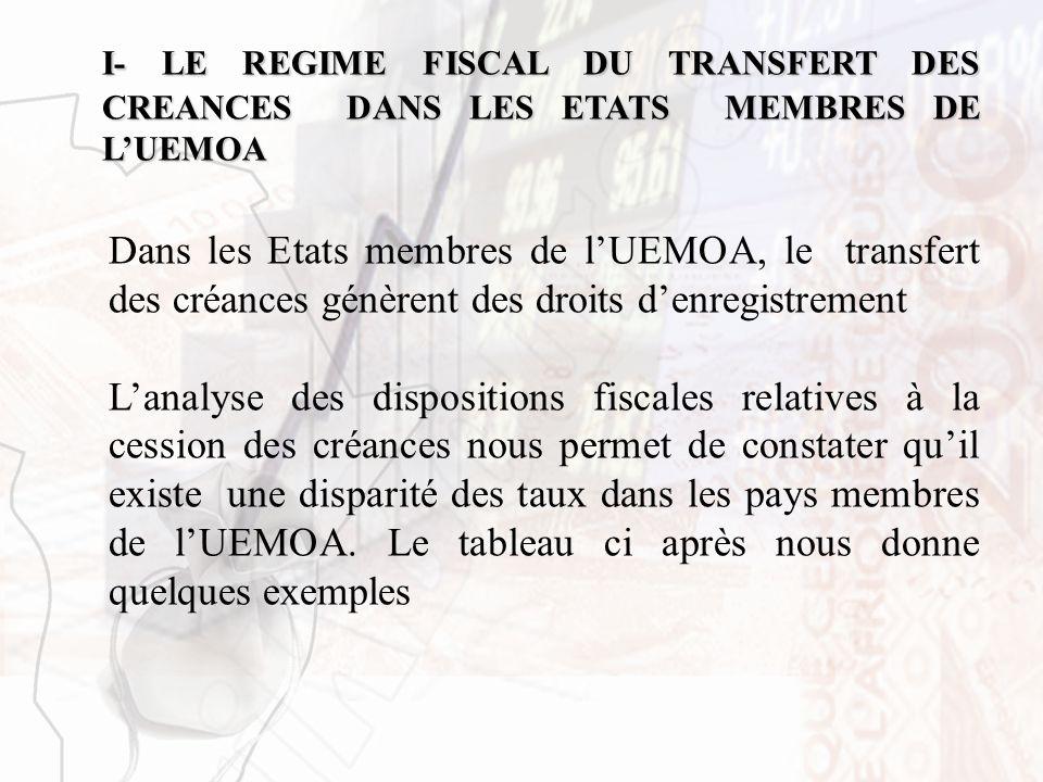 I- LE REGIME FISCAL DU TRANSFERT DES CREANCES DANS LES ETATS MEMBRES DE LUEMOA Dans les Etats membres de lUEMOA, le transfert des créances génèrent de