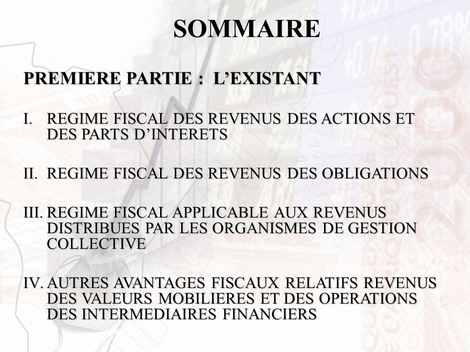 SOMMAIRE PREMIERE PARTIE : LEXISTANT I.REGIME FISCAL DES REVENUS DES ACTIONS ET DES PARTS DINTERETS II.REGIME FISCAL DES REVENUS DES OBLIGATIONS III.R