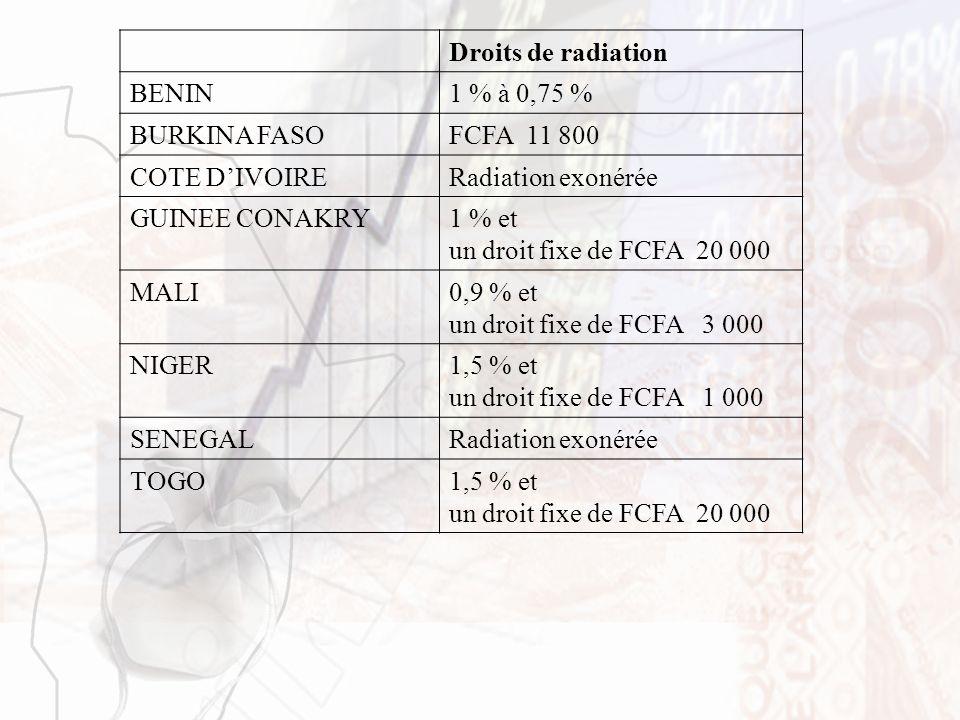 Droits de radiation BENIN1 % à 0,75 % BURKINA FASOFCFA 11 800 COTE DIVOIRERadiation exonérée GUINEE CONAKRY1 % et un droit fixe de FCFA 20 000 MALI0,9
