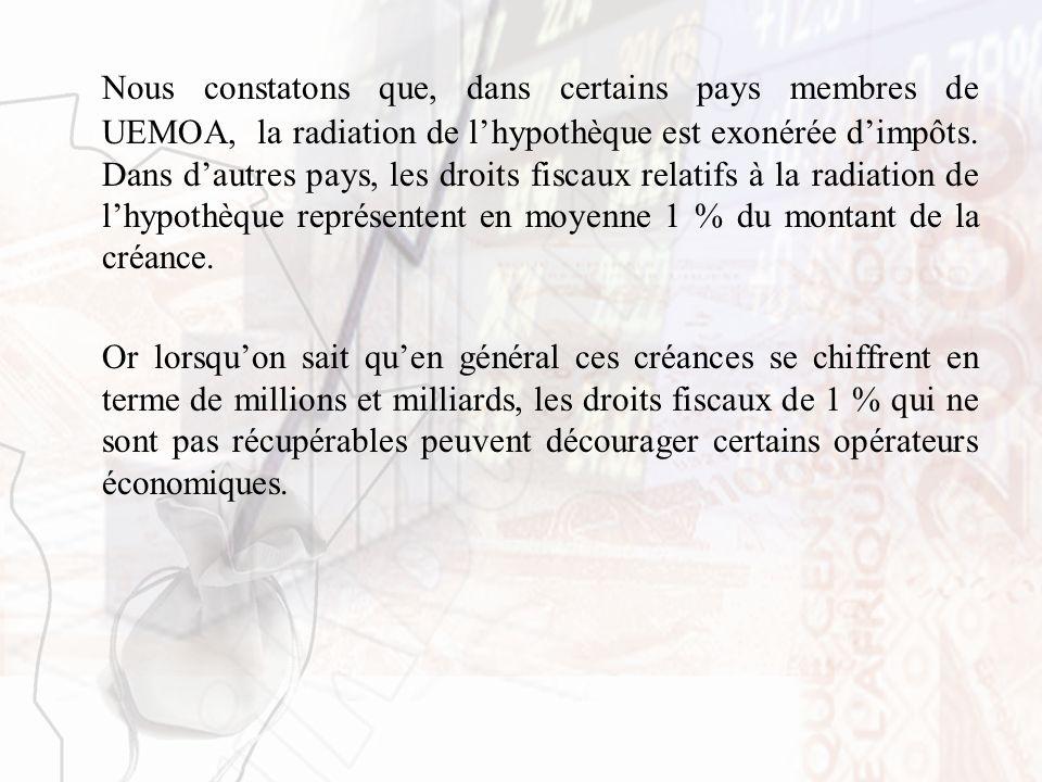 Nous constatons que, dans certains pays membres de UEMOA, la radiation de lhypothèque est exonérée dimpôts. Dans dautres pays, les droits fiscaux rela