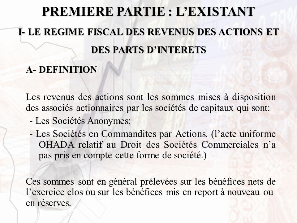 PREMIERE PARTIE : LEXISTANT I- LE REGIME FISCAL DES REVENUS DES ACTIONS ET DES PARTS DINTERETS A- DEFINITION Les revenus des actions sont les sommes m
