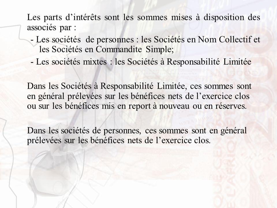 Les parts dintérêts sont les sommes mises à disposition des associés par : - Les sociétés de personnes : les Sociétés en Nom Collectif et les Sociétés
