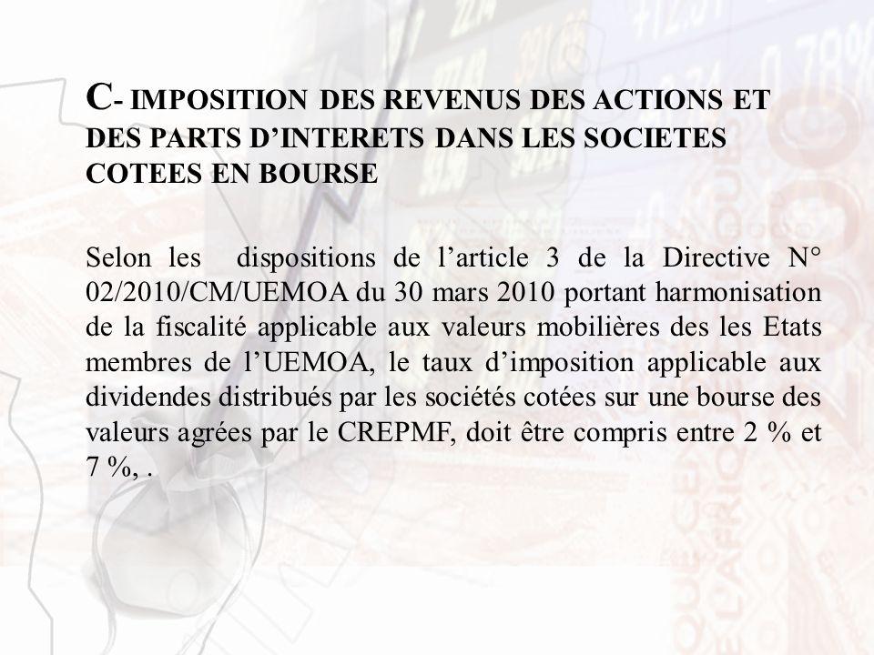 C - IMPOSITION DES REVENUS DES ACTIONS ET DES PARTS DINTERETS DANS LES SOCIETES COTEES EN BOURSE Selon les dispositions de larticle 3 de la Directive