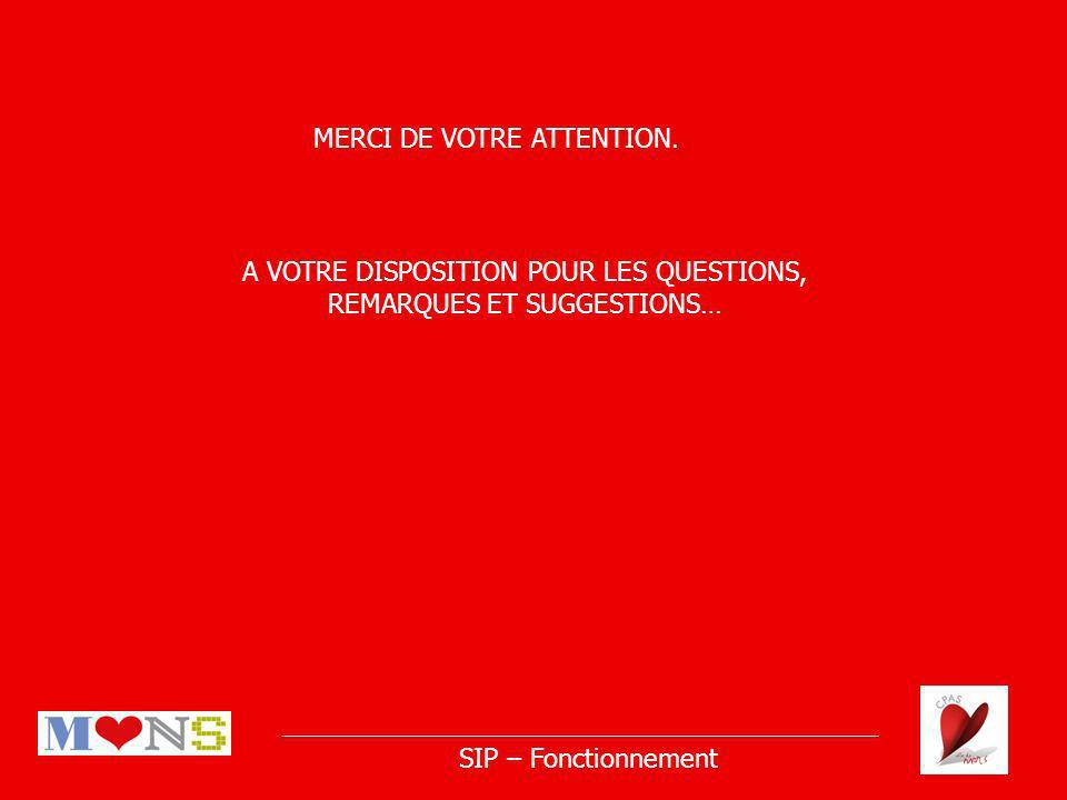 SIP – Fonctionnement MERCI DE VOTRE ATTENTION.