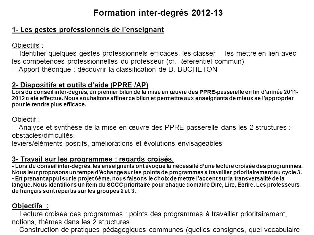 C1 : Formation inter-degrés 2012-13 1- Les gestes professionnels de lenseignant Objectifs : Identifier quelques gestes professionnels efficaces, les c