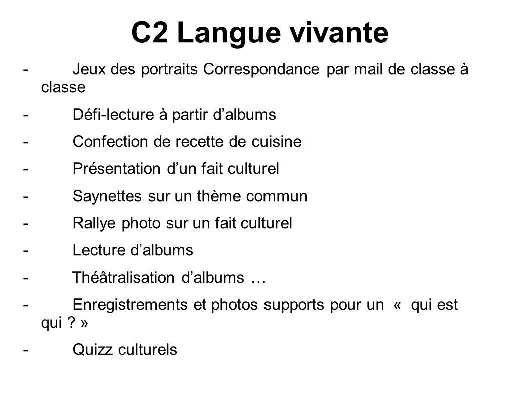 C2 Langue vivante - Jeux des portraits Correspondance par mail de classe à classe - Défi-lecture à partir dalbums - Confection de recette de cuisine -