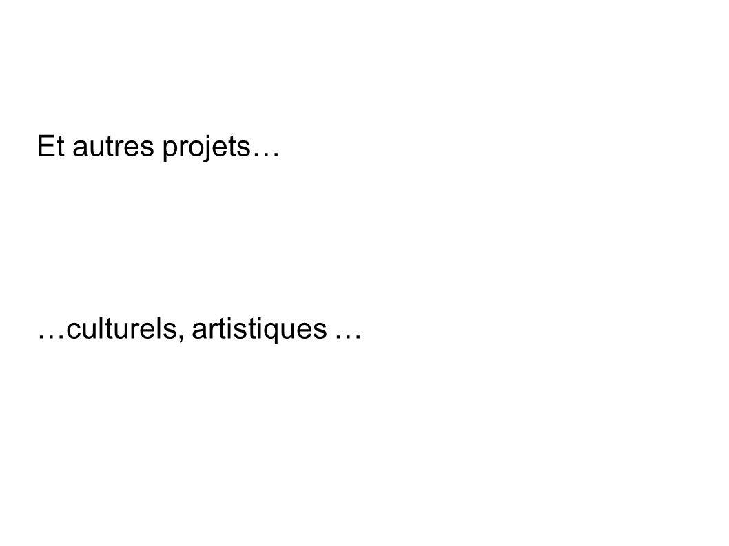Et autres projets… …culturels, artistiques …